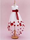 Princess Chapel Train Flower Girl Dress - Satin Tulle Sleeveless V Neck with Sash / Ribbon Pleats Flower by LAN TING BRIDE®
