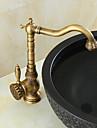 Antiek Art Deco/Retro Modern Middenset Handdouche Wijdverspreid Roteerbaar Keramische ventiel Single Handle twee gaten Antiek Koper,