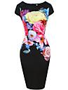 Pentru femei Mărime Plus Size Muncă Teacă Rochie - Crăpătură, Floral Talie Inaltă