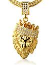 Bărbați Coliere cu Pandativ Ștras Crown Shape Animal Shape Leu Auriu Diamante Artificiale 18K de aur Aliaj Stâncă Personalizat costum de