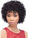 Peluca Pelo Natural Afro Ondulado Medio Con flequillo Mujer Densidad 130% Entradas Naturales Peluca afroamericana Atado 100 % a mano Corta Media Negro Natural Pelo humano pelucas sin tapa