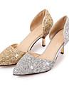 Damă Pantofi Luciu Primăvară Vară Toamnă Tocuri Toc Stilat Vârf ascuțit Paiete Pentru Nuntă Party & Seară Auriu Argintiu