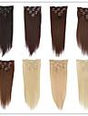 Klämma in Människohår förlängningar Mänskligt hår Rak 18 tum 20 tum 22 tum 15