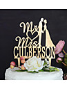 Vârfuri de Tort Personalizat Cuplu Clasic Monogramă Hârtie cărți de masă Nuntă Aniversare Petrecerea Bridal Shower GalbenTemă Clasică
