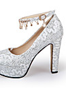 Femme-Mariage Decontracte Soiree & Evenement-Or Blanc Rouge-Gros Talon Block HeelChaussures a Talons-Paillette