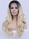 Femme Perruque Lace Front Synthetique Ondule Noir / Blond Fraise Ligne de Cheveux Naturelle Perruque Naturelle Perruque Deguisement