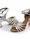 Pentru femei Pantofi Dans Latin Satin / Imitație de Piele Sandale Cataramă Toc Personalizat Personalizabili Pantofi de dans Negru / Roșu