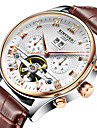 KINYUED Bărbați Mecanism automat ceas mecanic Ceas de Mână Ceas Schelet Ceas Elegant  Calendar Cronograf Rezistent la Apă Piele Bandă Lux