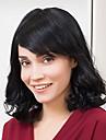 Human Hair Capless Parykar Äkta hår Naturligt vågigt Bob-frisyr Med lugg Sidodel Korta Maskingjord Peruk Dam