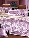Påslakan Sets Blommig 4 delar Silke/Bomullsblandning Jacquard Silke/Bomullsblandning 4 st. (1 Påslakan, 1 Lakan, 2 Örngott)