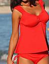 Femei Tankini Femei Bustieră Volane Solid Polyester