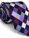 Bărbați Carouri Toate Sezoanele Vintage Draguț Petrecere Birou Casual Celofibră,Cravată Mov