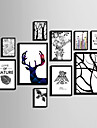 Abstract Floral/Botanic Ζώα Pânză Înrămată Set Înrămat Wall Art,PVC Material Negru Fără Rogojină cu Frame For Pagina de decorare cadru Art