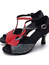 Pentru femei Pantofi Dans Latin / Pantofi Jazz / Pantofi Moderni Material elastic Sandale / Călcâi Piatră Semiprețioasă / Cataramă Toc Flared Personalizabili Pantofi de dans Maro / Roșu-negru / Piele