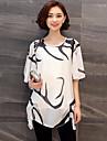Dame Rotund Bluză Casul/Zilnic Plus Size Simplu(ă),Mată Imprimeu Manșon scurt Primăvară Vară-Alb Negru Mediu Acrilic Poliester