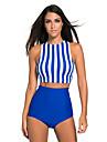Dame Dungi Halter Tankini Costume de Baie Γεωμετρικά Albastru piscină