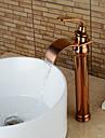 Moderne Set de centre Jet pluie with  Soupape ceramique Mitigeur un trou for  Or rose , Robinet lavabo