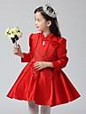 rochie de bal scurt / mini rochie fata rochie - organza mâneci lungi gât mare cu flori de mii