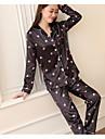 Pentru femei Costume Pijamale, Mediu Bumbac Mată Negru Roz Îmbujorat