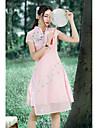 Pentru femei Linie A Rochie - Stil Artistic, Flori Stand Talie Înaltă