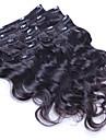 A Clipser Extensions de cheveux humains Ondulation naturelle Cheveux humains Cheveux Bresiliens Femme Quotidien