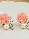 Dame Cercei Stud Euramerican costum de bijuterii Perle Imitație de Perle Ștras Aliaj Flower Shape Rose Bijuterii Pentru Petrecere Casual