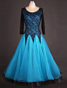 Ballroom Dance Dresses Women\'s Performance Spandex / Organza Draping / Lace / Splicing Long Sleeve High Dress
