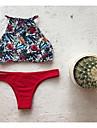 Femei Bikini Femei Cu Susținere Floral plunging răscroială Dantelat Polyester