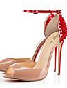 Pentru femei Pantofi PU Primăvară / Vară Confortabili / Noutăți Sandale Plimbare Toc Stilat Vârf deschis Cataramă Rosu / Nuntă