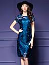 Pentru femei Mărime Plus Size Ieșire Șic Stradă Zvelt Bodycon Rochie - Plasă, Mată Brodată Lungime Genunchi Albastru