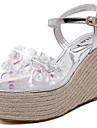 Femme Chaussures Cuir Verni Ete Confort Sandales Noir / Argent / Gris
