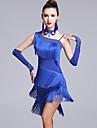 Latein-Tanz Kleider Damen Leistung Viskose Quaste / Kristalle / Strass AErmellos Normal Kleid / Handschuhe / Unterhose