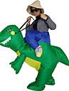Ridning En Dinosaur Cosplay Kostymer / Dräkter Uppblåsbar kostym Maskerad Halloween Rekvisita Film-cosplay Grön Trikå / Onesie Mer
