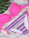 Bikini Cu Susținere Solid Dantelat Acrylic Plasă Spandex