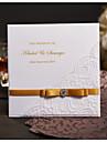 Pliat lateral Invitatii de nunta Invitații Stil modern Hârtie Perlă Fundă panglică Șireturi Piatră Semiprețioasă