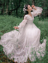 O piesă/Rochii Inspirație Vintage Elegant Prințesă Cosplay Rochii Lolita Alb Dantelă Vintage Manșon Lung Lungime până la glezne Rochie