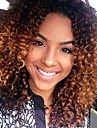 Virgin kosa Perika s prednjom čipkom bez ljepila Perika Srednji dio Kardashian stil Peruanska kosa Kinky Curly Kestenjast Ombre Perika 150% Gustoća kose 10-26 inch s dječjom kosom Ombre Prirodna