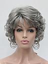 Femme Perruque Synthetique Sans bonnet Court Frises Gris Perruque Naturelle Perruque Halloween Perruque de carnaval Perruque Deguisement