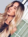 Syntetiska peruker Vågigt Naturligt vågigt Middle Part Mörka hårrötter Ombre-hår Hög kvalitet Mode Black-Blonde Dam Utan lock Naturlig