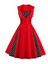 Pentru femei Mărime Plus Size Ieșire Vintage Linie A Rochie - Imprimeu, Buline / Culoare solidă Midi Roșu