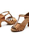 Pentru femei Pantofi Dans Latin Mătase Sandale Piatră Semiprețioasă Toc Personalizat Personalizabili Pantofi de dans Maro / Interior