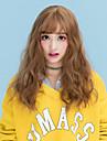 人工毛ウィッグ ウェーブ ブラウン バング付き アッシュブラウン ベージュ グレイ 合成 女性用 Bangsと ブラウン / グレイ かつら ミディアム キャップレス