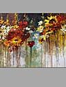 HANDMÅLAD Blommig/Botanisk Horisontell Panoramautsikt, Abstrakt Modern Duk Hang målad oljemålning Hem-dekoration En panel