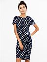Pentru femei Mărime Plus Size Vintage Șic Stradă Linie A Bodycon Rochie - Bufantă, Buline Talie Inaltă Lungime Genunchi