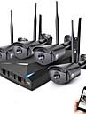 jooan® 4ch trådlös nvr kit 1080p utomhus nattsyn 2.0mp ip kamera wifi övervakning cctv system