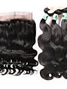 hårväft med stängning kroppsvåg hårförlängningar 4st 4 stycken naturligt svart malaysiskt mänskligt hår väver #kgdaily mjuk
