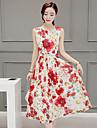 Per donna Moderno Taglia piccola Pantaloni - Fantasia geometrica Moderno Rosso