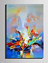 HANDMÅLAD Abstrakt Vertikal, Retro Duk Hang målad oljemålning Hem-dekoration En panel
