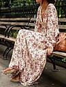 Damă Zilnic Vintage Boho Swing Rochie-Floral Manșon Lung În V Maxi Mătase Vară Talie Inaltă Micro-elastic Mediu
