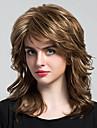 人間の毛のキャップレスウィッグ 人毛 カール レイヤード・ヘアカット バング付き サイドパート ミディアム 機械製 かつら 女性用
